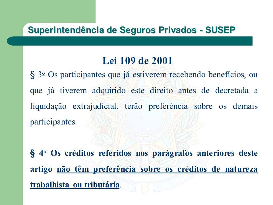Superintendência de Seguros Privados - SUSEP § 3 o Os participantes que já estiverem recebendo benefícios, ou que já tiverem adquirido este direito an