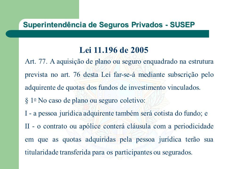 Superintendência de Seguros Privados - SUSEP Art. 77. A aquisição de plano ou seguro enquadrado na estrutura prevista no art. 76 desta Lei far-se-á me