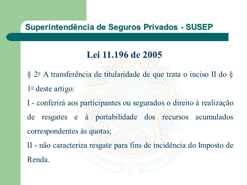 Superintendência de Seguros Privados - SUSEP § 2 o A transferência de titularidade de que trata o inciso II do § 1 o deste artigo: I - conferirá aos p