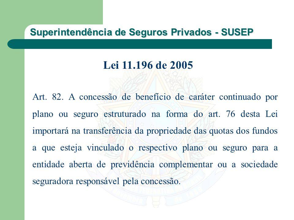 Superintendência de Seguros Privados - SUSEP Art. 82. A concessão de benefício de caráter continuado por plano ou seguro estruturado na forma do art.