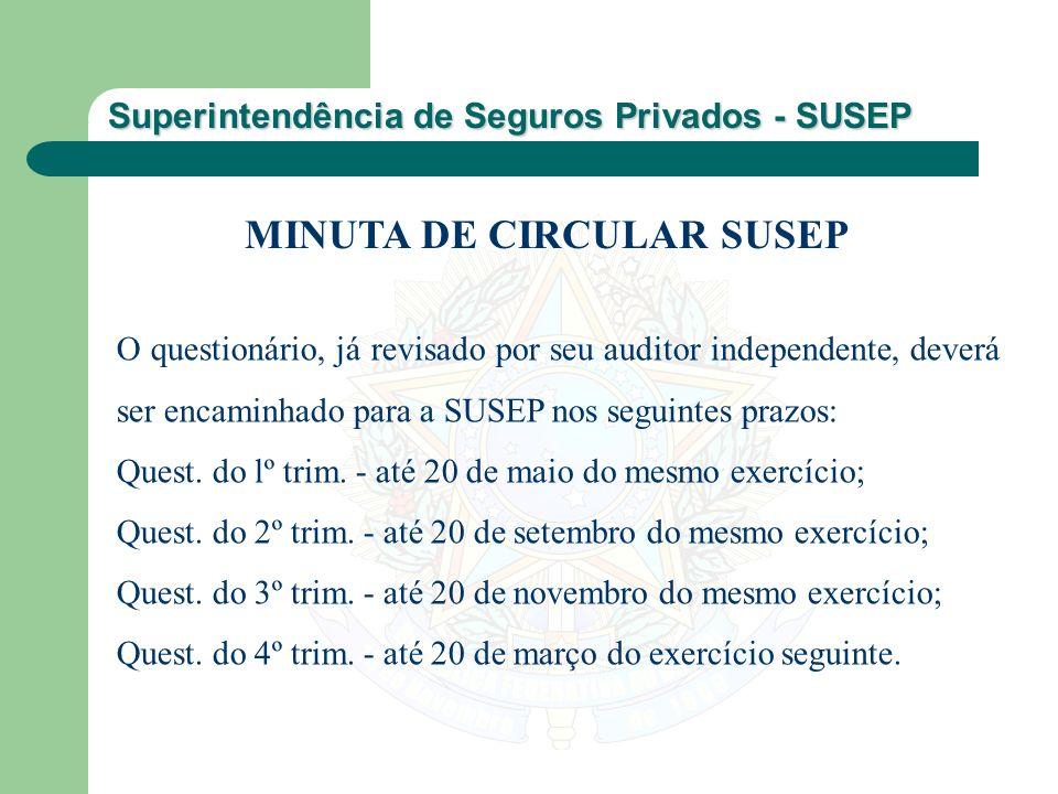 Superintendência de Seguros Privados - SUSEP O questionário, já revisado por seu auditor independente, deverá ser encaminhado para a SUSEP nos seguint