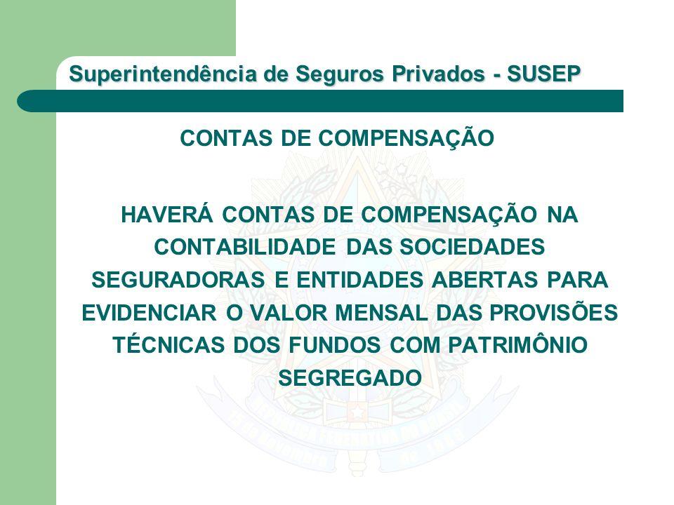 Superintendência de Seguros Privados - SUSEP CONTAS DE COMPENSAÇÃO HAVERÁ CONTAS DE COMPENSAÇÃO NA CONTABILIDADE DAS SOCIEDADES SEGURADORAS E ENTIDADE