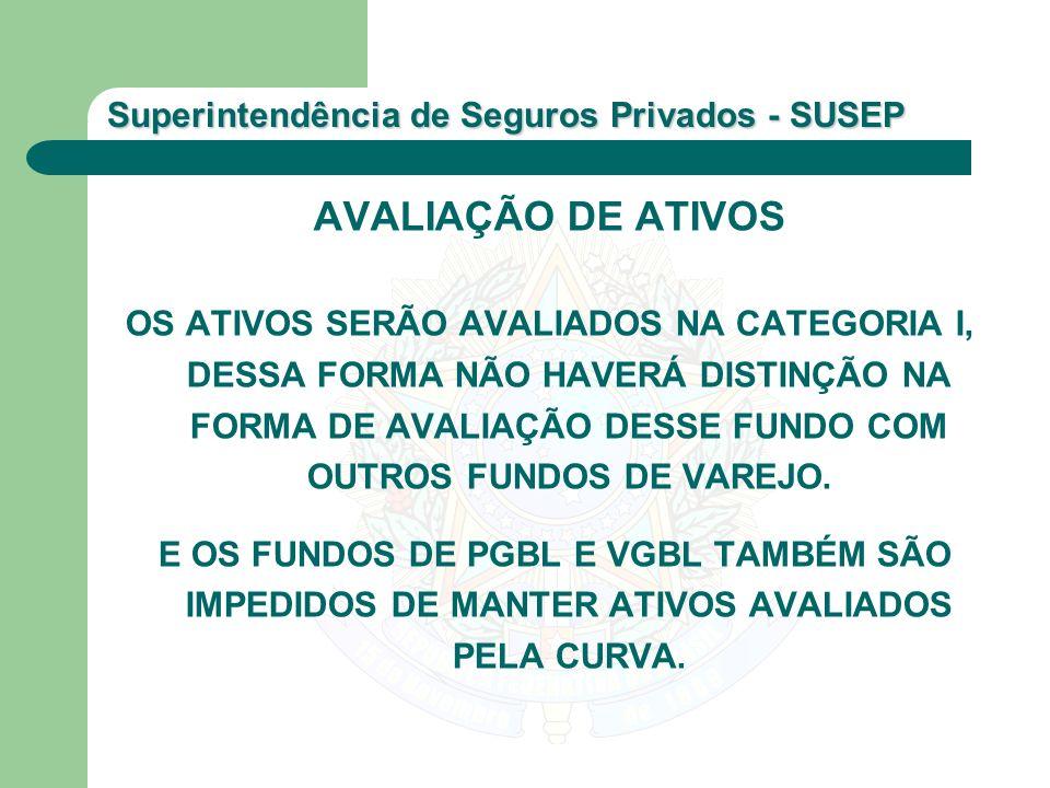Superintendência de Seguros Privados - SUSEP AVALIAÇÃO DE ATIVOS OS ATIVOS SERÃO AVALIADOS NA CATEGORIA I, DESSA FORMA NÃO HAVERÁ DISTINÇÃO NA FORMA D