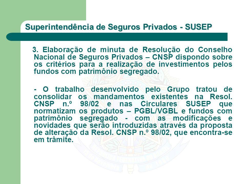Superintendência de Seguros Privados - SUSEP 3. Elaboração de minuta de Resolução do Conselho Nacional de Seguros Privados – CNSP dispondo sobre os cr