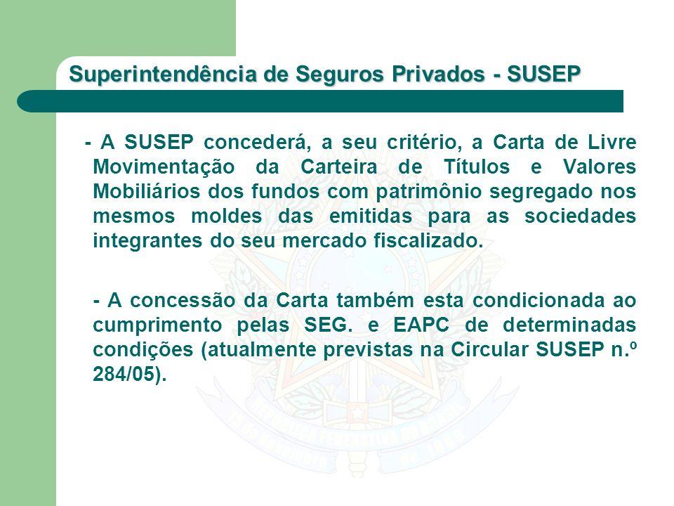 Superintendência de Seguros Privados - SUSEP - A SUSEP concederá, a seu critério, a Carta de Livre Movimentação da Carteira de Títulos e Valores Mobil