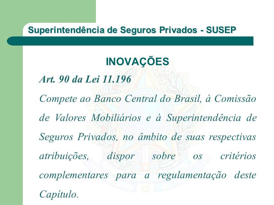 Superintendência de Seguros Privados - SUSEP Art. 90 da Lei 11.196 Compete ao Banco Central do Brasil, à Comissão de Valores Mobiliários e à Superinte