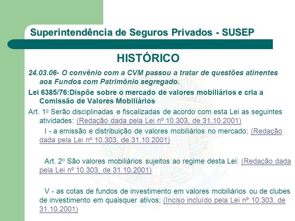 Superintendência de Seguros Privados - SUSEP 24.03.06- O convênio com a CVM passou a tratar de questões atinentes aos Fundos com Patrimônio segregado.