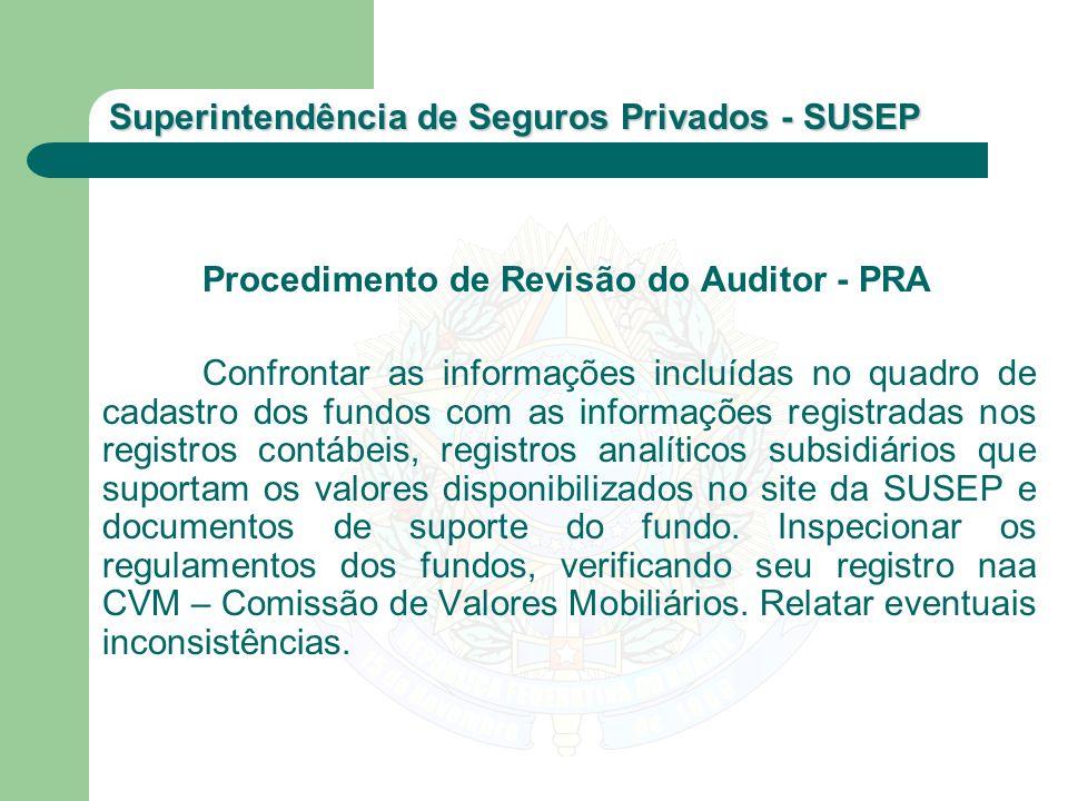 Superintendência de Seguros Privados - SUSEP Procedimento de Revisão do Auditor - PRA Confrontar as informações incluídas no quadro de cadastro dos fu