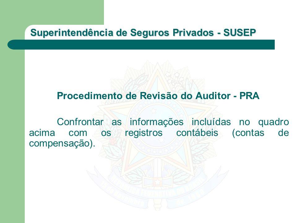 Superintendência de Seguros Privados - SUSEP Procedimento de Revisão do Auditor - PRA Confrontar as informações incluídas no quadro acima com os regis