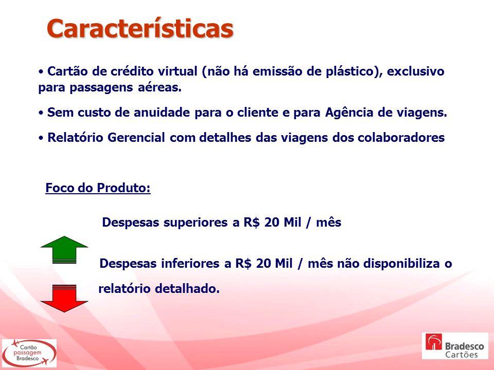Cartão de crédito virtual (não há emissão de plástico), exclusivo para passagens aéreas. Sem custo de anuidade para o cliente e para Agência de viagen