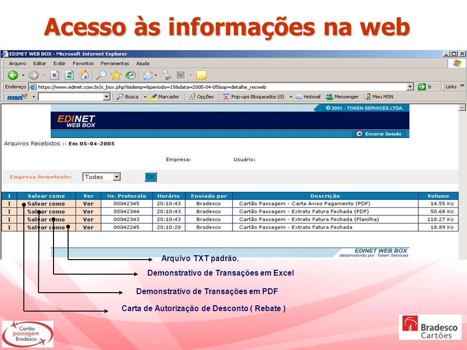 Acesso às informações na web Acesso às informações na web Arquivo TXT padrão. Demonstrativo de Transações em Excel Demonstrativo de Transações em PDF