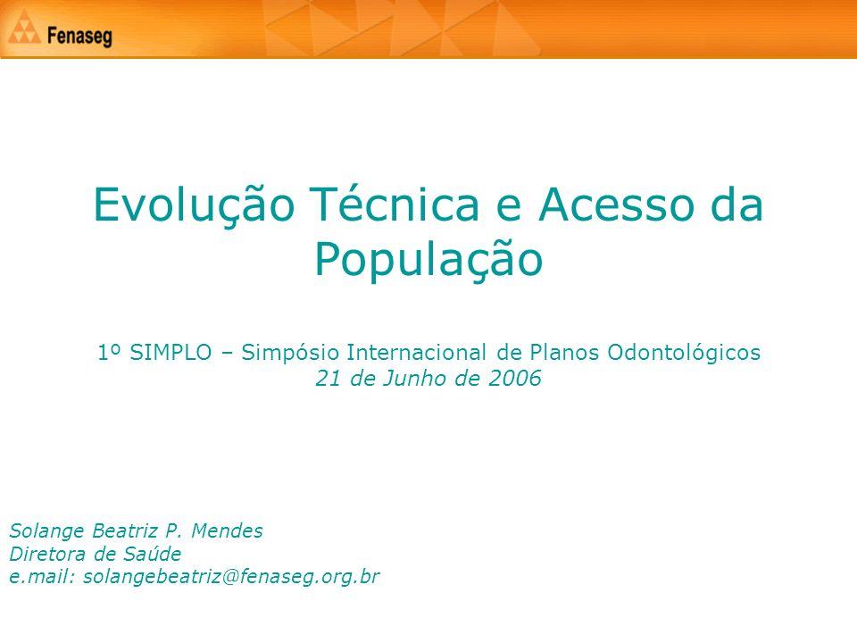 Evolução Técnica e Acesso da População 1º SIMPLO – Simpósio Internacional de Planos Odontológicos 21 de Junho de 2006 Solange Beatriz P. Mendes Direto
