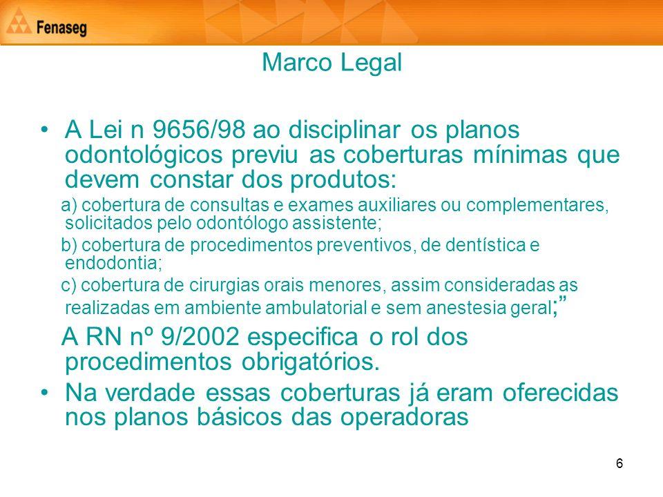 6 Marco Legal A Lei n 9656/98 ao disciplinar os planos odontológicos previu as coberturas mínimas que devem constar dos produtos: a) cobertura de cons