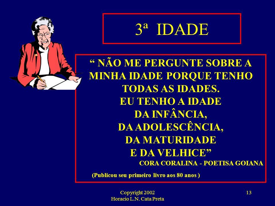 Copyright 2002 Horacio L.N. Cata Preta 12 SINISTRALIDADE - 3ª IDADE TÁBUAS DE MORBIDADE Nº DE DIAS DE DOENÇA POR ANO/ POR SEGURADO