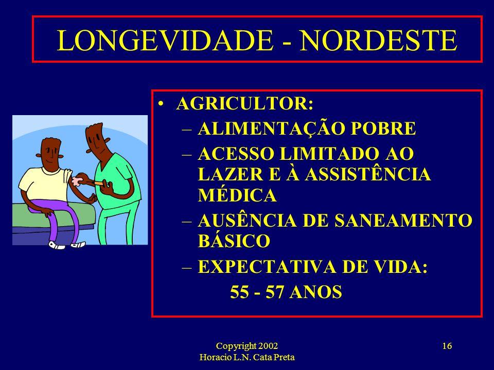 Copyright 2002 Horacio L.N. Cata Preta 15 LONGEVIDADE - SUDESTE / SUL CLASSE MÉDIA E ALTA: –ALIMENTAÇÃO ADEQUADA –BOAS CONDIÇÕES DE SANEAMENTO –ACESSO