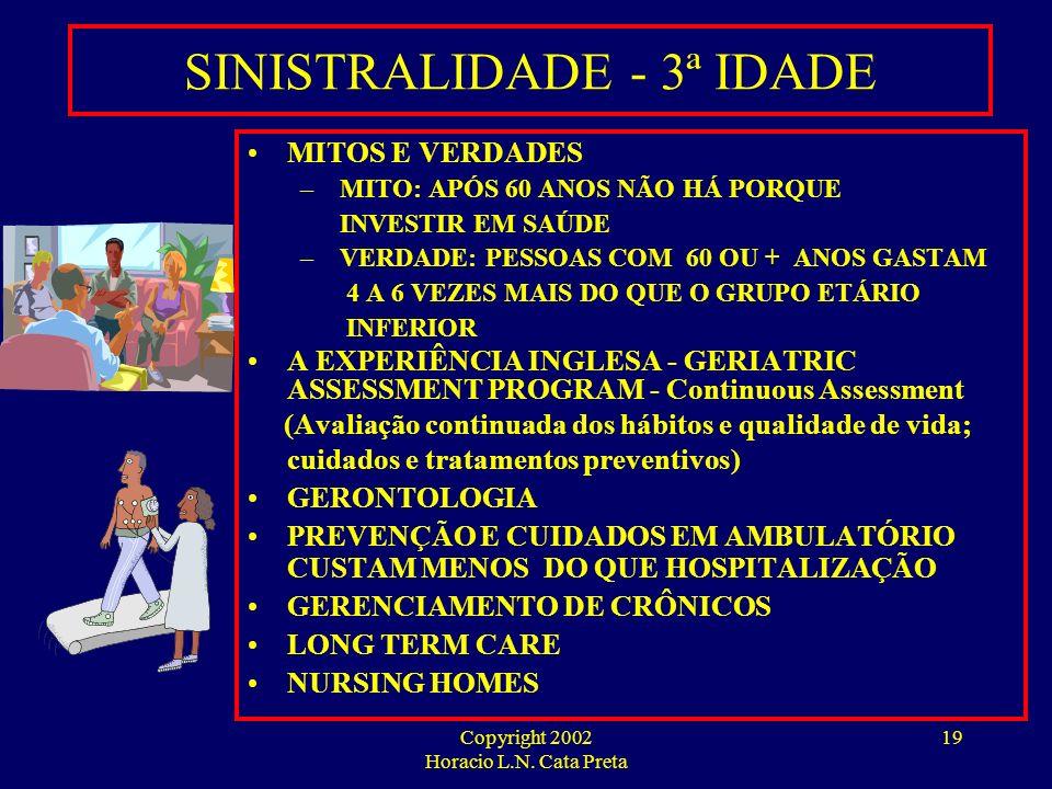 Copyright 2002 Horacio L.N. Cata Preta 18 SINISTRALIDADE NA 3ª IDADE PRINCIPAIS CAUSAS - CID 9 –CIRCULATÓRIAS –RESPIRATÓRIAS –DIGESTIVAS –INFECCIOSAS