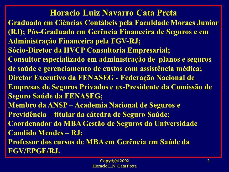 Copyright 2002 Horacio L.N. Cata Preta 1 FGV MBA EM GERÊNCIA DE SAÚDE HORACIO L.N. CATA PRETA