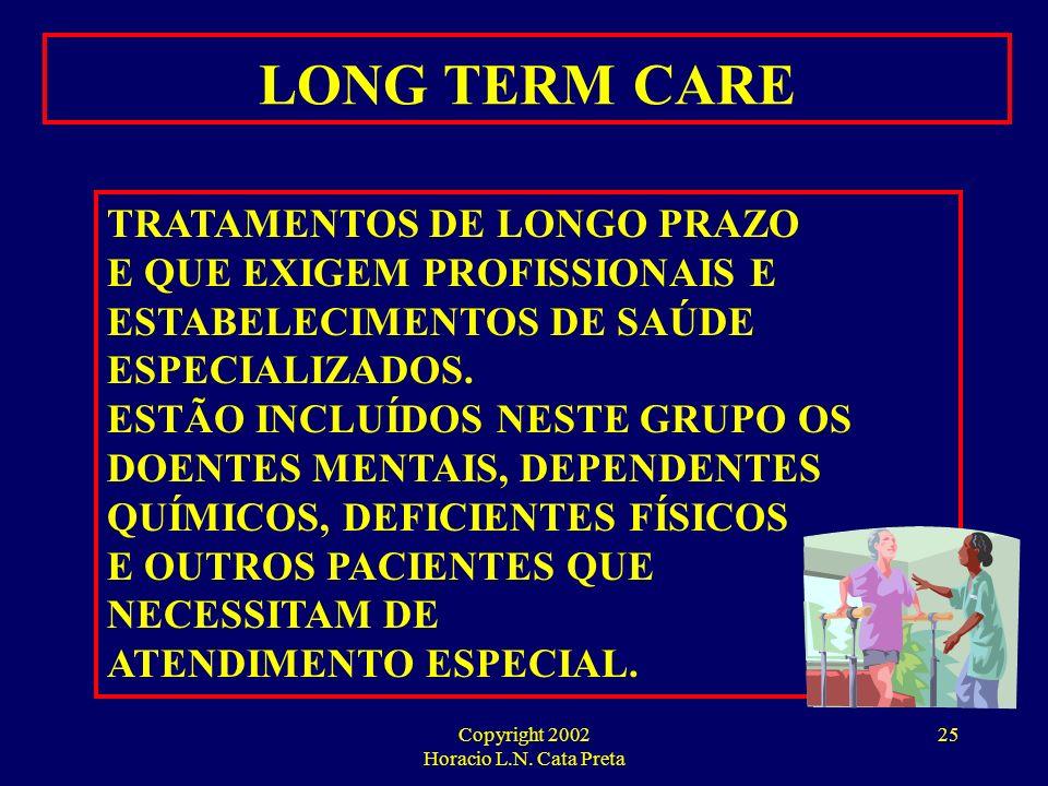 Copyright 2002 Horacio L.N. Cata Preta 24 GERENCIAMENTO DE CRÔNICOS O GERENCIAMENTO DE GRUPOS DE DOENTES CRÔNICOS OU DISEASE MANAGEMENT É UMA DAS TÉCN