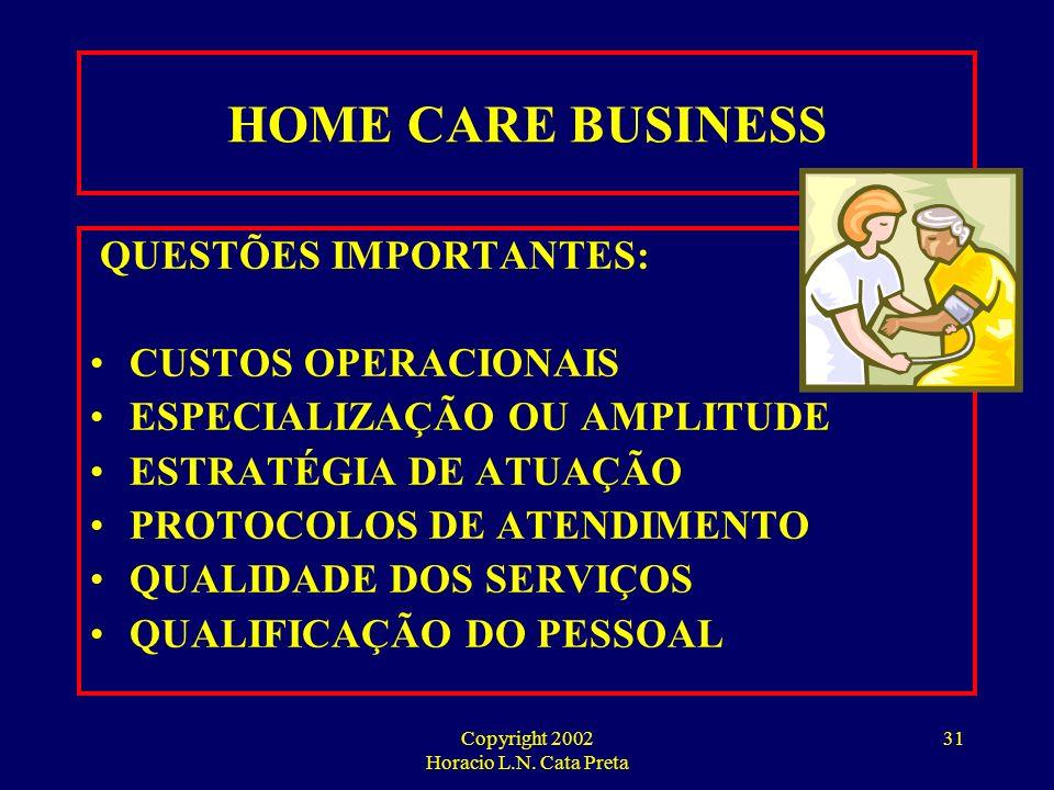 Copyright 2002 Horacio L.N. Cata Preta 30 A VISÃO DOS COMPRADORES DE SERVIÇO PRINCIPAIS PROBLEMAS: QUALIDADE DO ATENDIMENTO QUALIFICAÇÃO DOS PROFISSIO