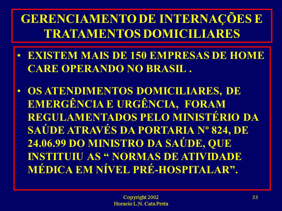 Copyright 2002 Horacio L.N. Cata Preta 32 HOME CARE BUSINESS OPORTUNIDADES PARA O HOME CARE: DOENTES MENTAIS DEPENDENTES DE DROGAS PACIENTES CRÔNICOS