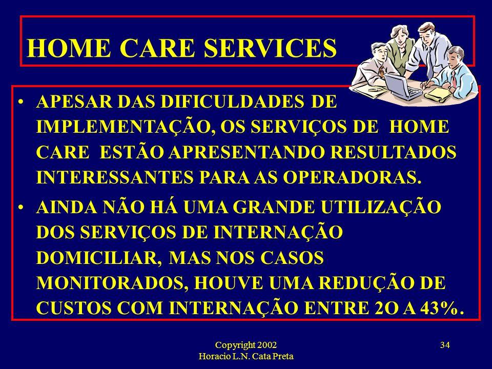 Copyright 2002 Horacio L.N. Cata Preta 33 GERENCIAMENTO DE INTERNAÇÕES E TRATAMENTOS DOMICILIARES EXISTEM MAIS DE 150 EMPRESAS DE HOME CARE OPERANDO N
