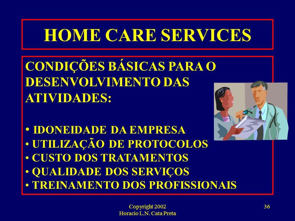Copyright 2002 Horacio L.N. Cata Preta 35 ALGUNS HOSPITAIS JÁ ESTÃO CONSIDERANDO A HIPÓTESE DE TRANSFERIR PARA ALGUMAS ORGANIZAÇÕES DE HOME CARE OS CU
