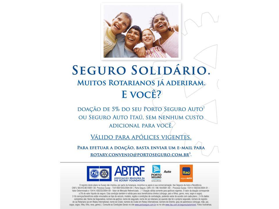 Programa Seguro Solidário Seguradoras Porto Seguro/Itaú/AZUL para Rotarianos e Rotarianas Extensivo para Ascendentes e Descendentes Diretos e Cônjuges DOAÇÃO de 5% do prêmio pela PORTO SEGURO Companhia de Seguros Gerais Sem ônus para o segurado Apenas Seguro Auto ABTRF - Associação Brasileira da The Rotary Foundation