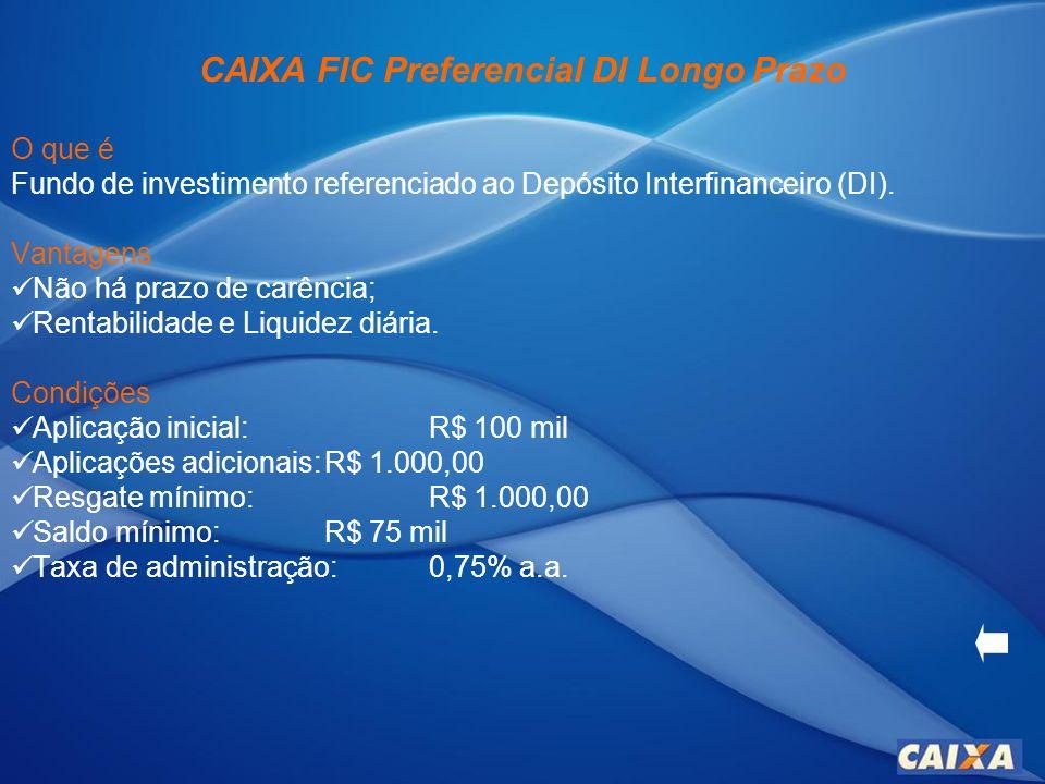 CAIXA FIC Ideal Renda Fixa Longo Prazo O que é Fundo de Investimento em Cotas, que aplica em cotas de outros fundos de investimentos que tem em sua composição ativos de renda fixa.