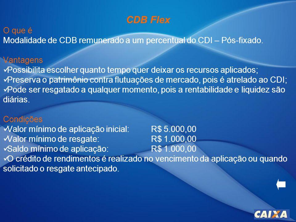 CDB TR CAIXA O que é Modalidade de CDB remunerado à TR – Pós-fixado mais juros.