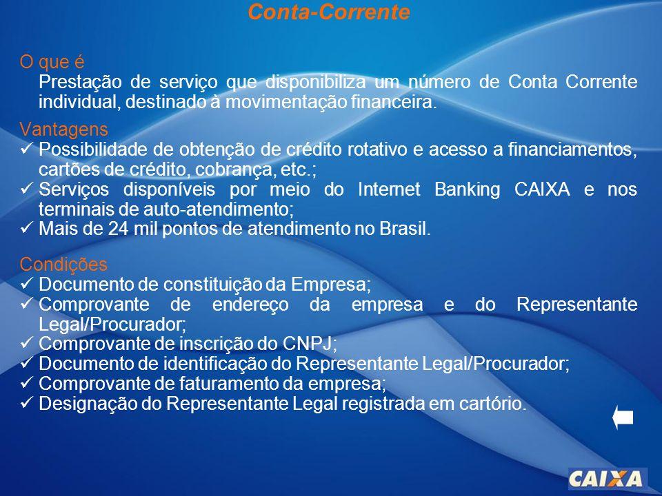 Internet Banking CAIXA O que é É um canal transacional e informativo de auto-atendimento, por meio da internet, que permite acesso às contas bancárias e disponibiliza serviços bancários básicos.