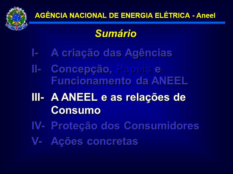 AGÊNCIA NACIONAL DE ENERGIA ELÉTRICA - Aneel Sumário I- A criação das Agências III-A ANEEL e as relações de Consumo IV-Proteção dos Consumidores II-Concepção, Papéis e Funcionamento da ANEEL V-Ações concretas
