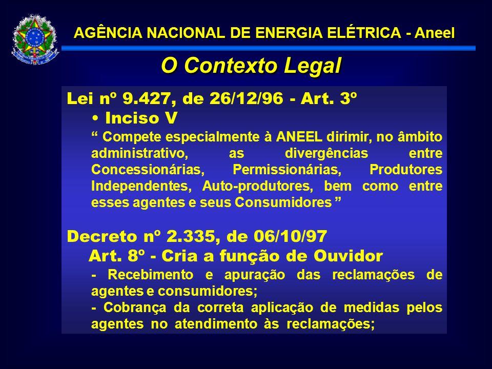 AGÊNCIA NACIONAL DE ENERGIA ELÉTRICA - Aneel Lei nº 9.427, de 26/12/96 - Art.