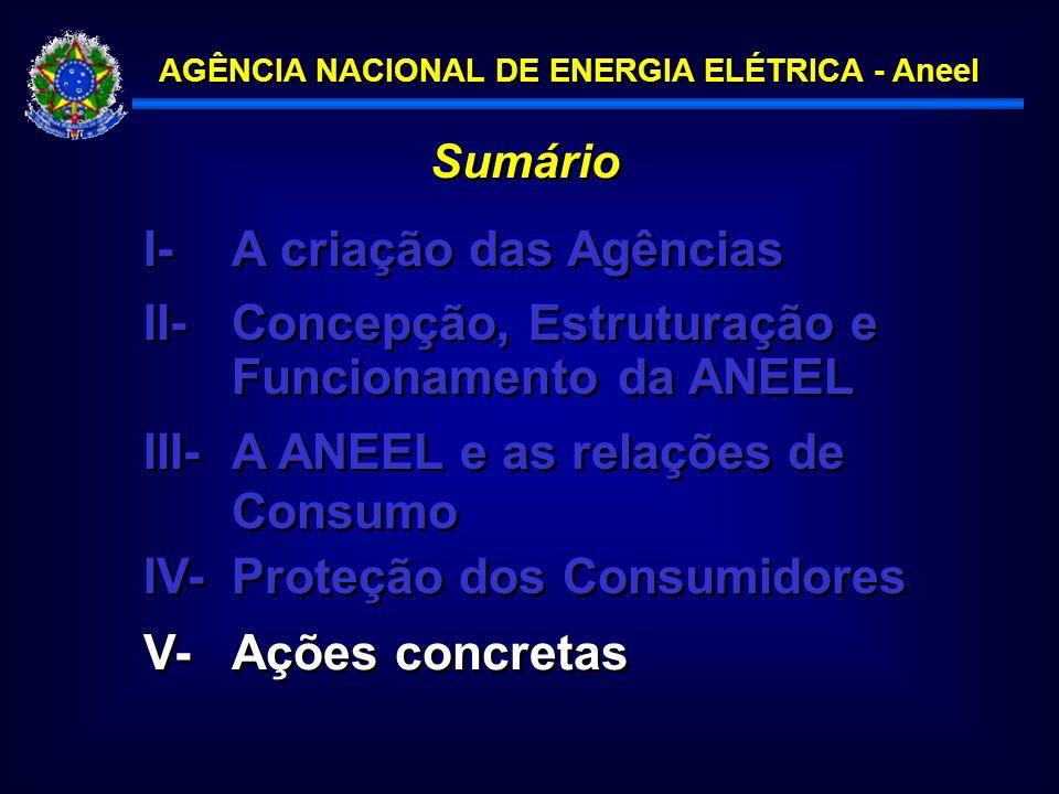 AGÊNCIA NACIONAL DE ENERGIA ELÉTRICA - Aneel Sumário I- A criação das Agências III-A ANEEL e as relações de Consumo IV-Proteção dos Consumidores II-Concepção, Estruturação e Funcionamento da ANEEL V-Ações concretas