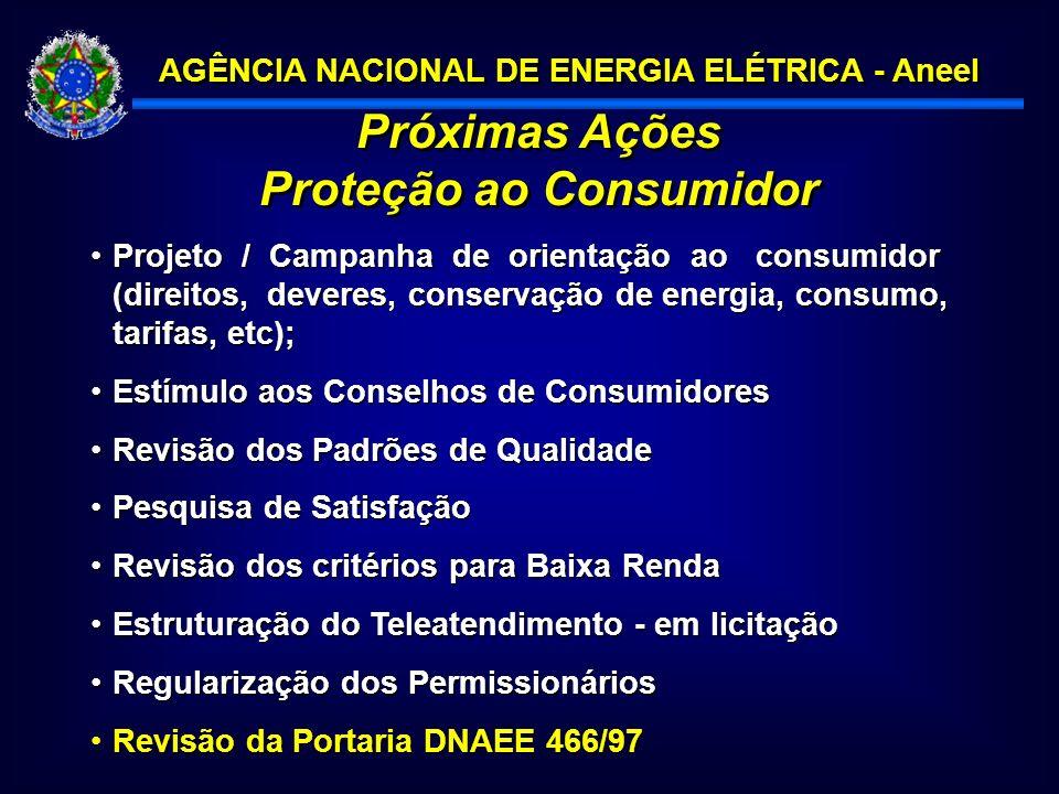 AGÊNCIA NACIONAL DE ENERGIA ELÉTRICA - Aneel Próximas Ações Proteção ao Consumidor Próximas Ações Proteção ao Consumidor Projeto / Campanha de orientação ao consumidor (direitos, deveres, conservação de energia, consumo, tarifas, etc);Projeto / Campanha de orientação ao consumidor (direitos, deveres, conservação de energia, consumo, tarifas, etc); Estímulo aos Conselhos de ConsumidoresEstímulo aos Conselhos de Consumidores Revisão dos Padrões de QualidadeRevisão dos Padrões de Qualidade Pesquisa de SatisfaçãoPesquisa de Satisfação Revisão dos critérios para Baixa RendaRevisão dos critérios para Baixa Renda Estruturação do Teleatendimento - em licitaçãoEstruturação do Teleatendimento - em licitação Regularização dos PermissionáriosRegularização dos Permissionários Revisão da Portaria DNAEE 466/97Revisão da Portaria DNAEE 466/97