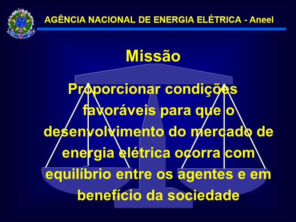 AGÊNCIA NACIONAL DE ENERGIA ELÉTRICA - Aneel Proporcionar condições favoráveis para que o desenvolvimento do mercado de energia elétrica ocorra com equilíbrio entre os agentes e em benefício da sociedade Missão