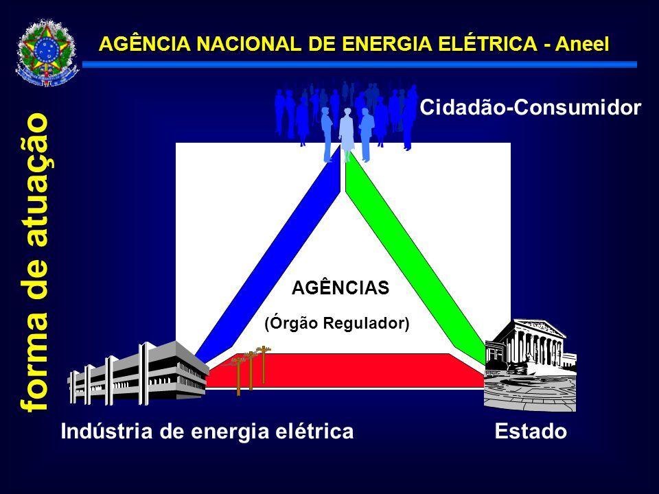 AGÊNCIA NACIONAL DE ENERGIA ELÉTRICA - Aneel (Órgão Regulador) AGÊNCIAS EstadoIndústria de energia elétrica Cidadão-Consumidor forma de atuação