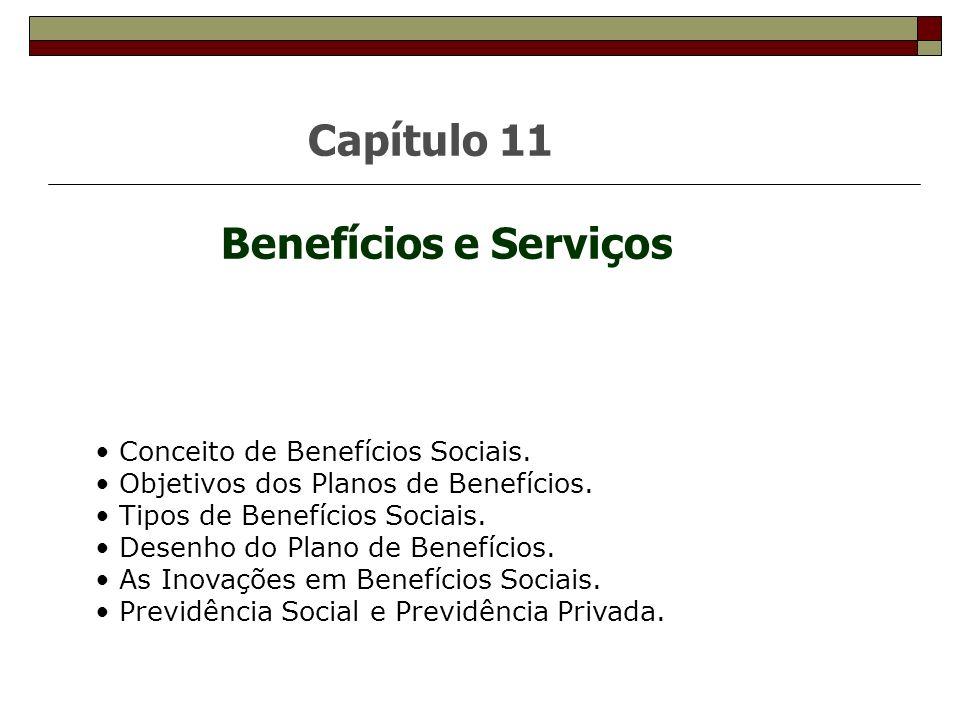 Capítulo 11 Benefícios e Serviços Conceito de Benefícios Sociais. Objetivos dos Planos de Benefícios. Tipos de Benefícios Sociais. Desenho do Plano de