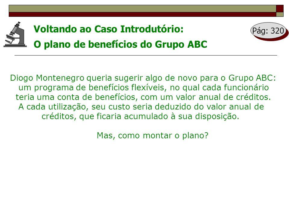 Voltando ao Caso Introdutório: O plano de benefícios do Grupo ABC Diogo Montenegro queria sugerir algo de novo para o Grupo ABC: um programa de benefí