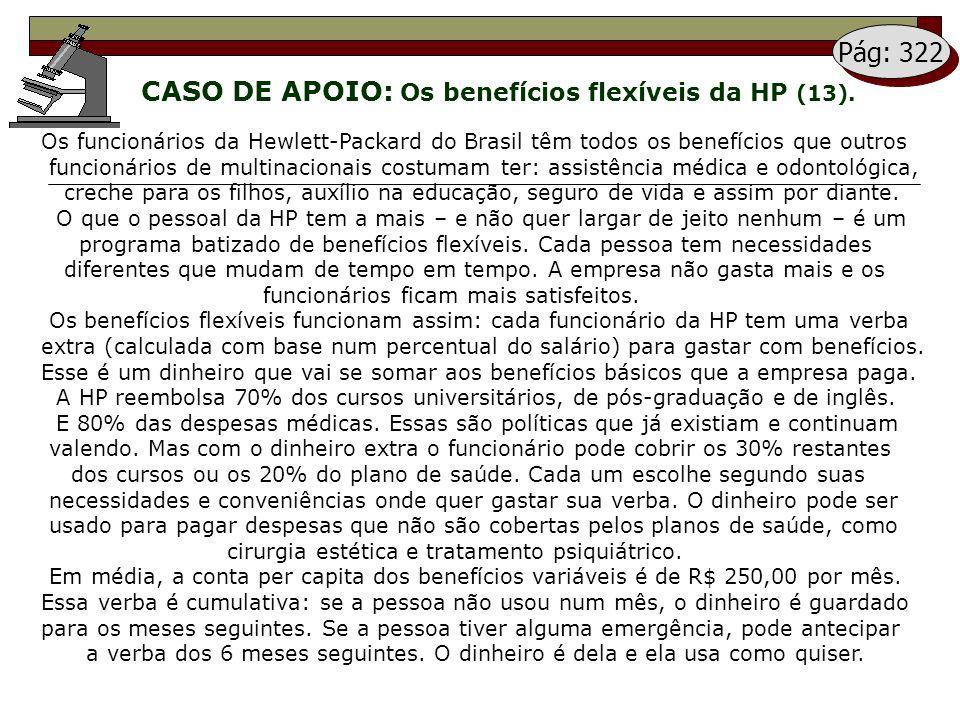 CASO DE APOIO: Os benefícios flexíveis da HP (13). Pág: 322 Os funcionários da Hewlett-Packard do Brasil têm todos os benefícios que outros funcionári