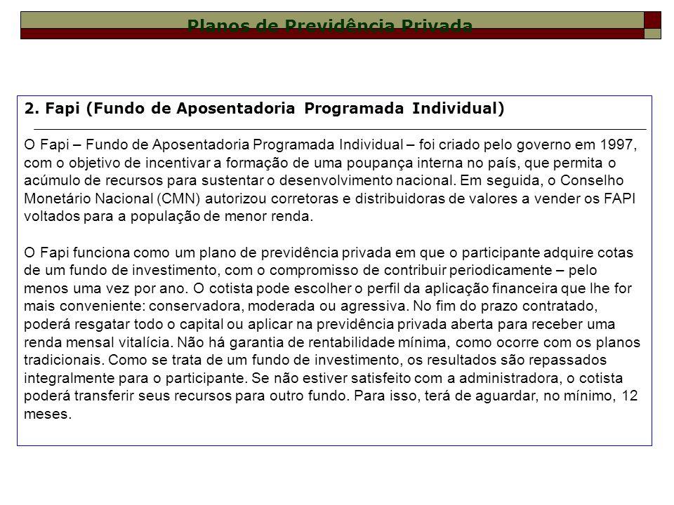 2. Fapi (Fundo de Aposentadoria Programada Individual) O Fapi – Fundo de Aposentadoria Programada Individual – foi criado pelo governo em 1997, com o