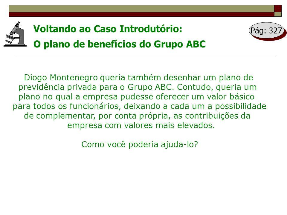 Voltando ao Caso Introdutório: O plano de benefícios do Grupo ABC Diogo Montenegro queria também desenhar um plano de previdência privada para o Grupo