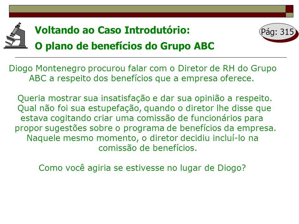 Voltando ao Caso Introdutório: O plano de benefícios do Grupo ABC Diogo Montenegro procurou falar com o Diretor de RH do Grupo ABC a respeito dos bene