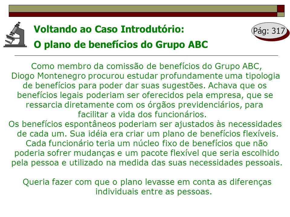 Voltando ao Caso Introdutório: O plano de benefícios do Grupo ABC Como membro da comissão de benefícios do Grupo ABC, Diogo Montenegro procurou estuda