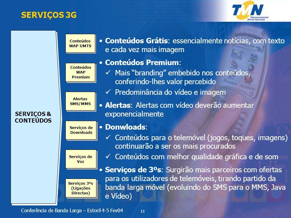 11 Conferência de Banda Larga – Estoril 4-5 Fev04 SERVIÇOS 3G SERVIÇOS & CONTEÚDOS Conteúdos WAP UMTS Conteúdos WAP Premium Alertas SMS/MMS Serviços d