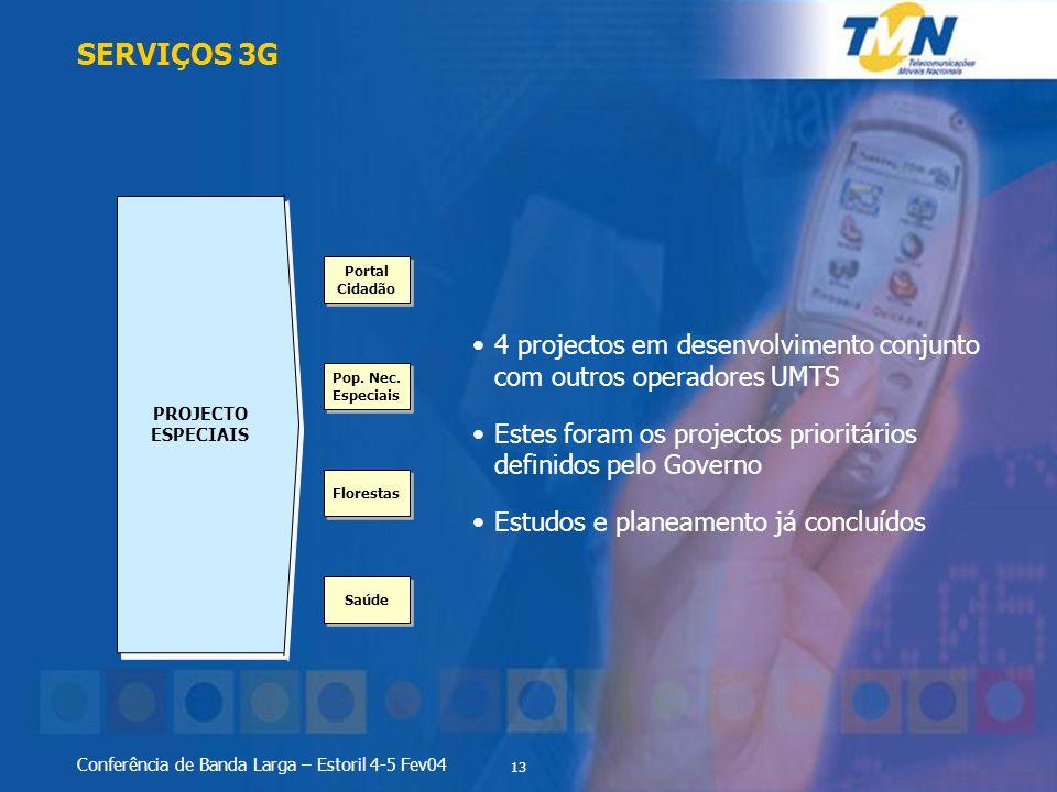 13 Conferência de Banda Larga – Estoril 4-5 Fev04 SERVIÇOS 3G PROJECTO ESPECIAIS 4 projectos em desenvolvimento conjunto com outros operadores UMTS Es