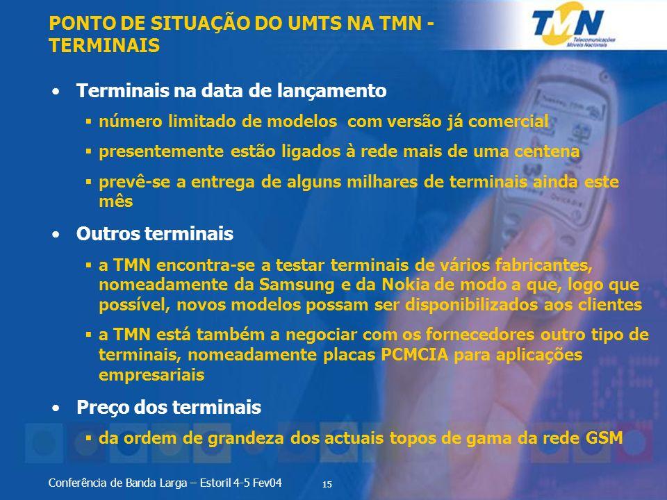 15 Conferência de Banda Larga – Estoril 4-5 Fev04 Terminais na data de lançamento número limitado de modelos com versão já comercial presentemente est