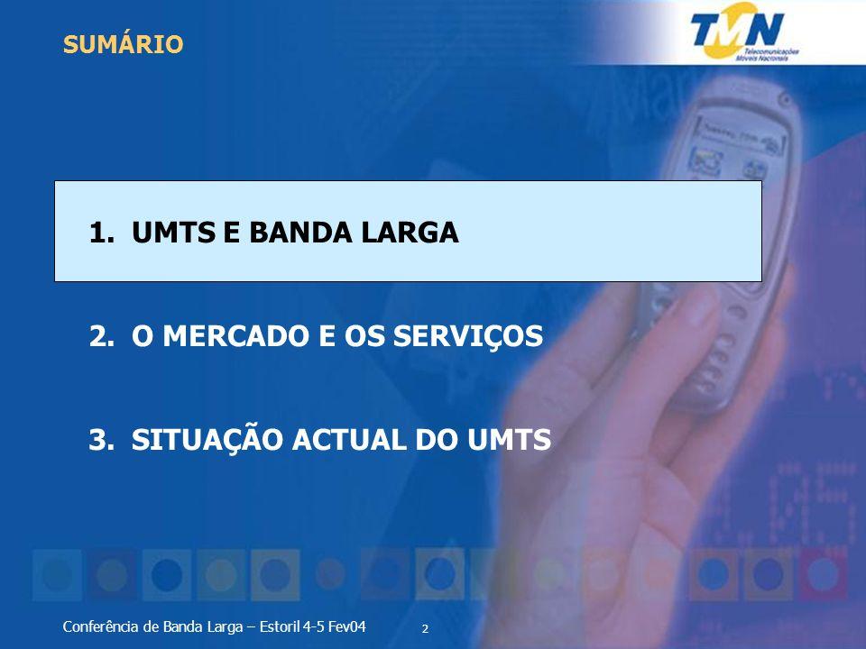 2 Conferência de Banda Larga – Estoril 4-5 Fev04 1.UMTS E BANDA LARGA 2.O MERCADO E OS SERVIÇOS 3.SITUAÇÃO ACTUAL DO UMTS SUMÁRIO