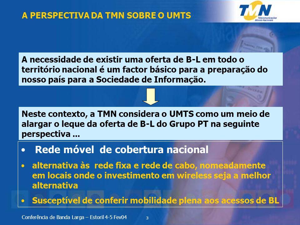 3 Conferência de Banda Larga – Estoril 4-5 Fev04 A PERSPECTIVA DA TMN SOBRE O UMTS A necessidade de existir uma oferta de B-L em todo o território nac