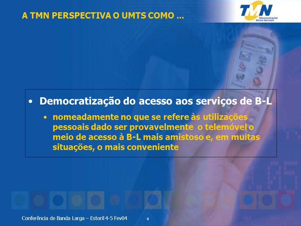 4 Conferência de Banda Larga – Estoril 4-5 Fev04 Democratização do acesso aos serviços de B-L nomeadamente no que se refere às utilizações pessoais da
