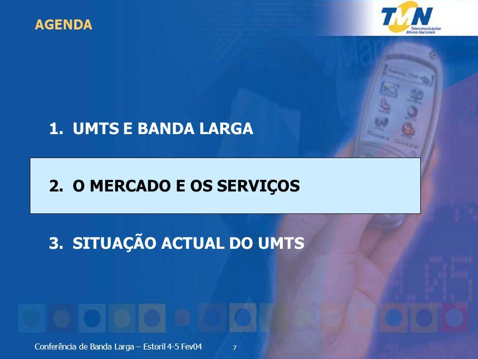 7 Conferência de Banda Larga – Estoril 4-5 Fev04 1.UMTS E BANDA LARGA 2.O MERCADO E OS SERVIÇOS 3.SITUAÇÃO ACTUAL DO UMTS AGENDA